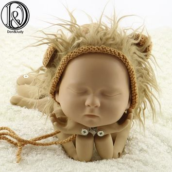 New Arrival! Handknit Cotton with Faux Fur Lion Style Baby Hat Newborn Size Baby Shower Gift Photography Props