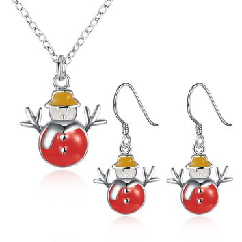 Christmas Gift Jewelry Sets Enamel Snowman Pendant Necklace and Drop Earrings Set