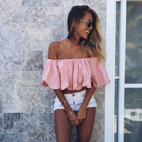 Summer Ladies Ruffle Sexy Strapless Tops T-shirts [11506715407]