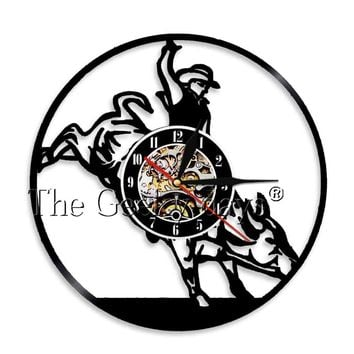 Wild West Vintage Cowboy Vinyl Record Clock Western Bronco Buster Handmade Wall Art Clock Watch Party Room Decor Gift for Men