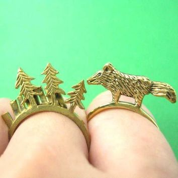 Wolf Fox Animal Ring in Brass | Limited Edition Animal Jewelry