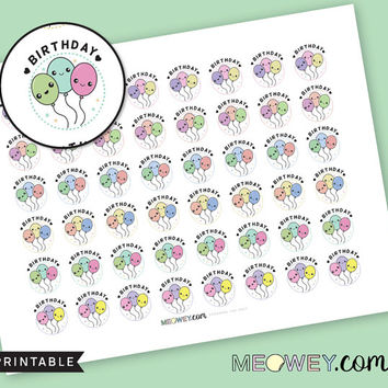 Birthday Balloons Stickers Kawaii Decorative Planner Printables INSTANT DOWNLOAD Cute DIY Reminders Party Celebration Date Stamps Multicolor