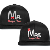mrs always right mr always right couple matching snapback cap