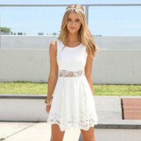 2016 Summer Style White Dress Women Casual Solid Lace Strapless Sexy A-line Short Mini Dresses