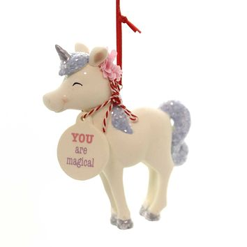 Holiday Ornaments UNICORN STANDING SNOWPINION Department 56 6002143 White