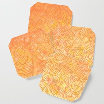 Yellow and orange swirls doodles Coaster by savousepate