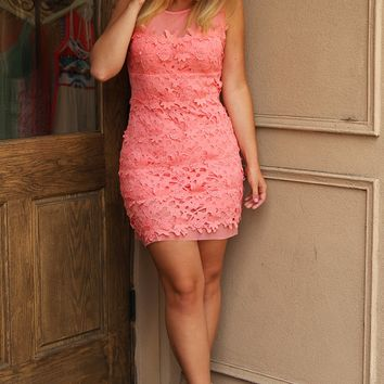 Close Your Eyes Dress: Coral