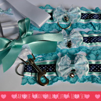 Baby Blue & Navy collar, cuffs, leash/lead and ball gag set for bdsm/petplay