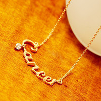 Birthday Girl - Gold Plated Zodiac Sign Cancer Necklace