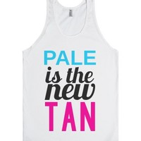 PALE is the new TAN Tank-Unisex White Tank