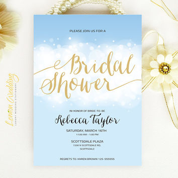 Bridal Shower Invitation - Blue sky and gold wedding shower invitation printed on white pearlescent paper - Simple signature invitation