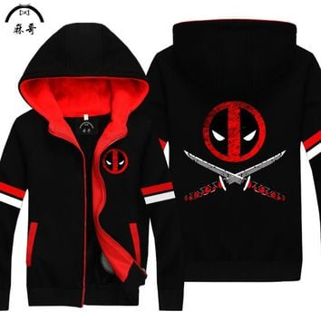 Adult Cartoon Character Costumes  Hoodie And Cashmere Cardigan Coat Thick Sweater Deadpool Deadpool Game Peripherals Cosplay