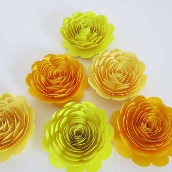 "Fall Floral Table Decor, 3"" Rose Blossoms, Set of 6 Shades of Yellow, Autumn Wedding Decorations, Table Decorating Ideas, Gold Pastel"