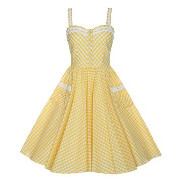 This lightweight cotton swing dress with gingham pattern throughout, features a sweetheart neckline with crochet trim and 5-cover-button at bodice closure, sleeveless, thick shoulder straps with crochet trim, gathered pleated full skirt, front 2 pockets wi