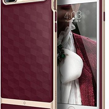 iPhone 8 Plus Case / iPhone 7 Plus Case Caseology [Parallax Series] Slim Protective Textured Geometric Cover Drop Protection for Apple iPhone 7 Plus (2016) / iPhone 8 Plus (2017) - Burgundy / Gold