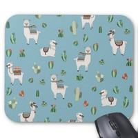 Lama and cactus pattern mouse pad