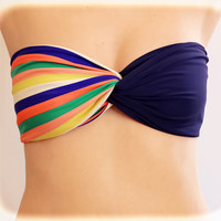 by (2BeRoxy) Navy - Colorful Striped Bikini Bra Top Spandex Bandeau Spandex Beach Bandeau,Twisted Spandex, Strapless Bra, Bandeau Top, Bandeau