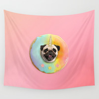 Unicorn Pug Pastel Donut Wall Tapestry by lostanaw