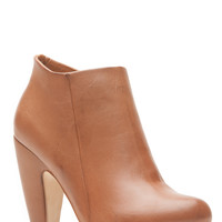 Chesnut Faux Leather Chunky Ankle Booties