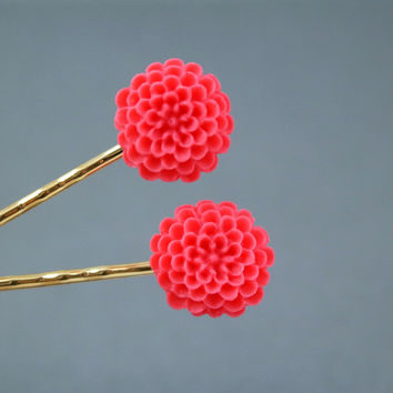 Neon Coral Flower Decorative Gold Plated Bobby Pins