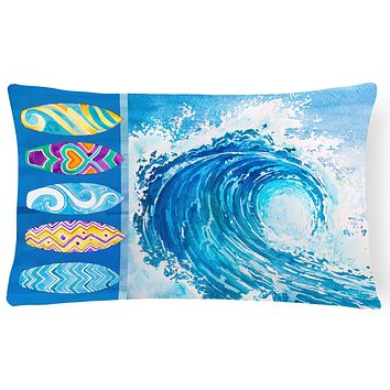 Surf Boards and Wave Canvas Fabric Decorative Pillow BB8528PW1216