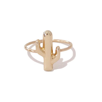 Solid 14K Gold Cactus Ring (Pinky, Midi, Stackable, Statement Ring) {available in Yellow, White or Rose Gold}