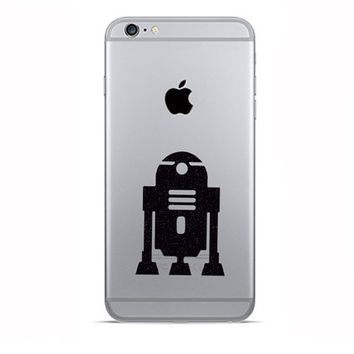 R2-D2  iPhone 6 Decals - Two Velvet Fabric iPhone 6 Plus Stickers - Robot Galaxy s5 - Two Star Wars Inspired Decal - Black Fabric Stickers