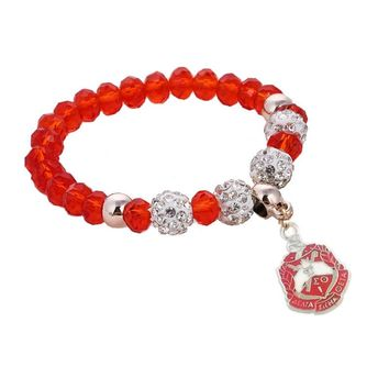 Delta Sigma Theta Red and Clear Crystal Bead Charm Bracelet