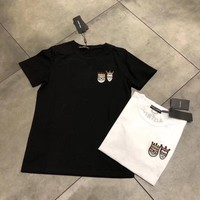 """""""Dolce & Gabbana"""" Women Simple Casual Crown Prince Princess Embroidery Short Sleeve T-shirt Top Tee"""