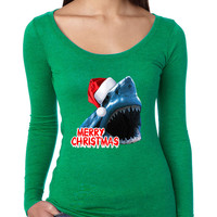 Women's Shirt Santa Jaws Merry Christmas Ugly Fun Xmas Gift