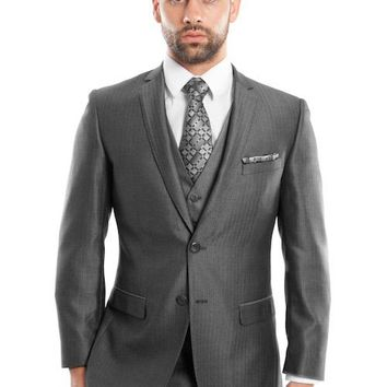 Men's Dark Grey Three Piece Herringbone Slim Fit Vested Suit