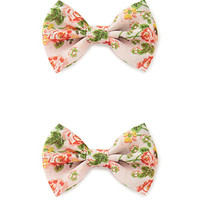 Floral Fantasy Bow Hair Clip Set