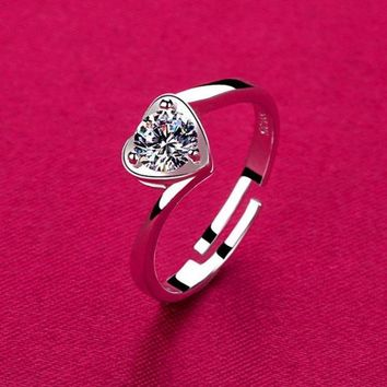 DCCKIX3 925 Silver Loving Couple Ring Opening Rhinestone Heart-shaped Ring Silver Jewelry Adjustable Valentine's Day Gift