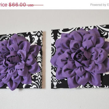"MOTHERS DAY SALE Two Flower Wall Hangings-Lavender Dahlia Flowers on Black and White Damask Print 12 x12"" Canvas Wall Art- Baby Nursery Wall"
