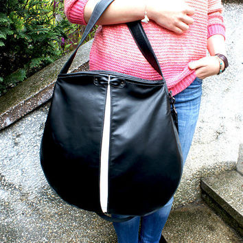 Bow leather tote bag, leather oversized bag, leather hobo bag, square satchel purse, everyday bag, shoulder handbags, black white grey