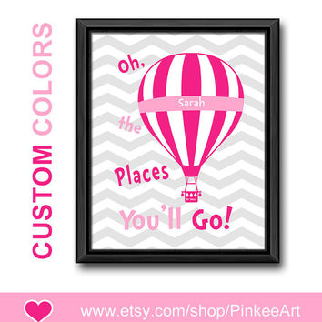 motivational girls room decor dr seuss oh the places kids wall art gift for girls hot air balloon kids art girl nursery toddler playroom art