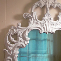Vintage White Wall Mirror Large French Country Farmhouse Victorian Shabby Chic