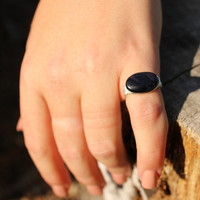Wire Wrapped Ring-  Black Blue Gemstone Ring - Sparkle Ring