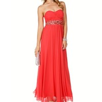 Macarisa- Coral Gemstone Prom Dress