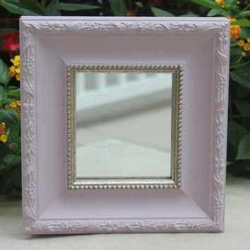 Shabby chic square wall mirror, hand-painted in Annie Sloan light purple chalk paint