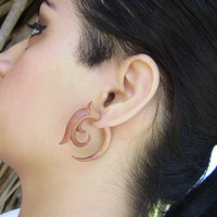 Fake gauge ,  Wood Organic  Earrings ,Tribal Expander Split