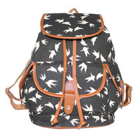 Large Birds Pattern Travel Bag Canvas Lightweight Casual Backpack
