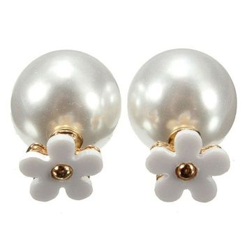 Double Side Flower Pearl Ball Ear Studs