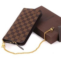 Louis Vuitton LV Popular Women Leather Chain Zipper Wallet Purse Handbag Crossbody I