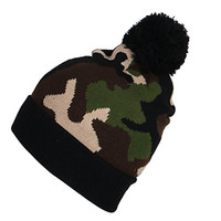 Fashion Camo Print Pattern Pom Pom Beanie Cuffed Knit Hat Winter Cap (Camo)