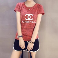 """Chanel"" Women Casual Fashion Letter Print Short Sleeve Shorts Set Two-Piece Yoga Sportswear"