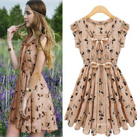 Chiffon Movement printing dress