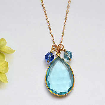 Large Natural Blue Topaz Quartz Gold bezel two birthstone crystals necklace - available in a variety of gemstones - children, kids, mother