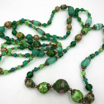 Art Deco Murano Wedding Cake Lampwork Art glass Bead Necklace Venetian 60""