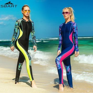 Surfing Diving Wetsuit UPF50+ Anti-UV Quick Dry  Long Sleeve One-piece Swimsuit Women Swimwear Dive Skin Bodysuits Wetsuits